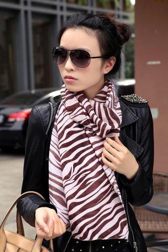 Fashion Chiffon Silk Scarves Zebra grain Scarf Long Style shawl Women's Christmas gifts Multicolor 20pcs/lot(China (Mainland))