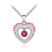 Good quality crystal jewelry Alloy plated white gold pendants necklace love shape women necklace