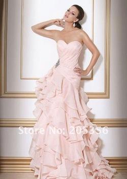 Free Shipping New Style sweetheart layered Ruffle A-line Botton Wedding Dresses