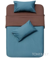 New Single bed in a bag sets 4pc with sheets premium 100% cotton Fabric teal coffee solid pattern reversible duvet quilt covers