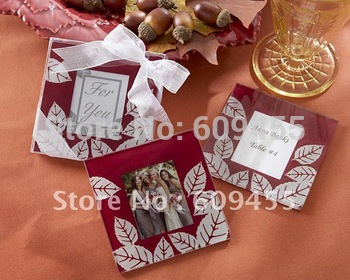 "Wedding Favors ""Fall Impressions"" Glass Photo Coasters - (2pcs/set)+120 sets / lot +FREE SHIPPING+Lowest Price(RWF-0029C)"
