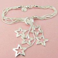 Wholesale 5pcs /lot 925silver plated chain star bracelet/fashion bracelet/lady's bracelet free shipping