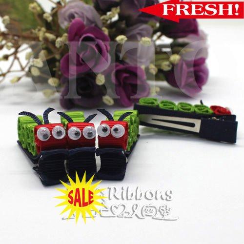 Free Shipping cute Caterpillar ribbon hairs clips Children's Hair Accessories Baby hair bows 50pcs/bag(China (Mainland))