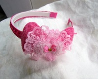 Wholesale-48pcs/lot,1.2cm width Fashion headband with Bow and Flower ,Free shipping!!