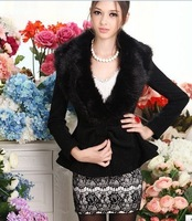 Wholesale -  Hot selling free shipping 100% wool Women's winter noble short coats/ fur collar winterouter wear452-0147