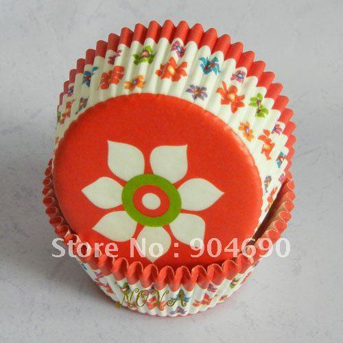1000pcs White floral salmon pink Cupcake Cake liner baking Paper Cup muffin case(China (Mainland))