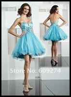 Wholesale Factory Price 2012 Strapless Backless Organza Applique A line Mini Sexy Designer Homecoming and Prom Dress