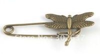 20PCS Antiqued bronze dragonfly Safety Pin Brooch A15547B