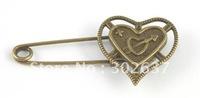 20PCS Antiqued bronze heart Safety Pin Brooch A15550B