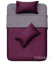 Reversible duvet quilt covers 100% cotton Fabric purple dark gray solid pattern Single bedding sets 4 pcs with sheets bed linen