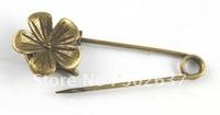 20PCS Antiqued bronze cute flower Safety Pin Brooch A15552B