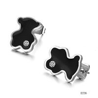 Min order 10$ (mix order) cute lovey Bear  Stud Earrings stainless steel  Little Bear with diamond black charm  226