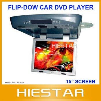 15inch Roof Mount Car DVD Player Flip down Car DVD IR+FM Transmitter+Anti-Shock+Speaker+TV/Game(Optional) (AC9007)
