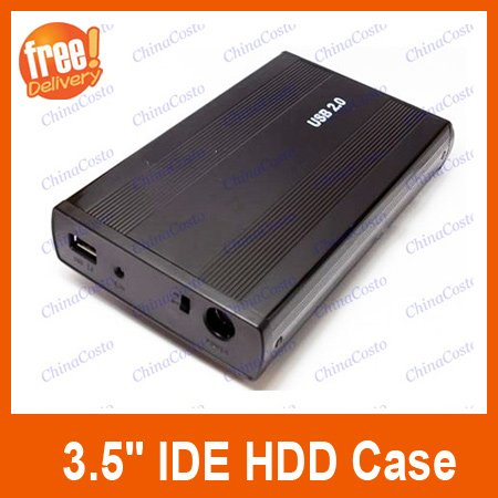 USB 2.0 3.5&quot; IDE HDD External Enclosure Hard Drive Disk HDD Case,Black Color,Free Drop Shipping(China (Mainland))