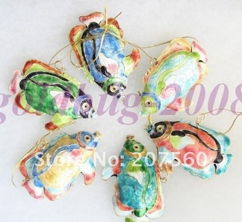 Free shipping! Gift LOTS 12PCS/LOT CHRISTMAS Tree ORNAMENT PRETTY CLOISONNE FISHES G1