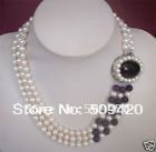 Free Shipping>>>3 row White Pearl Black jade purple Crystal necklace