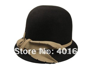 Lady Women's Autumn Winter Church Hats Cute Beautiful 100% Wool Elegant Fashion coffe/pink