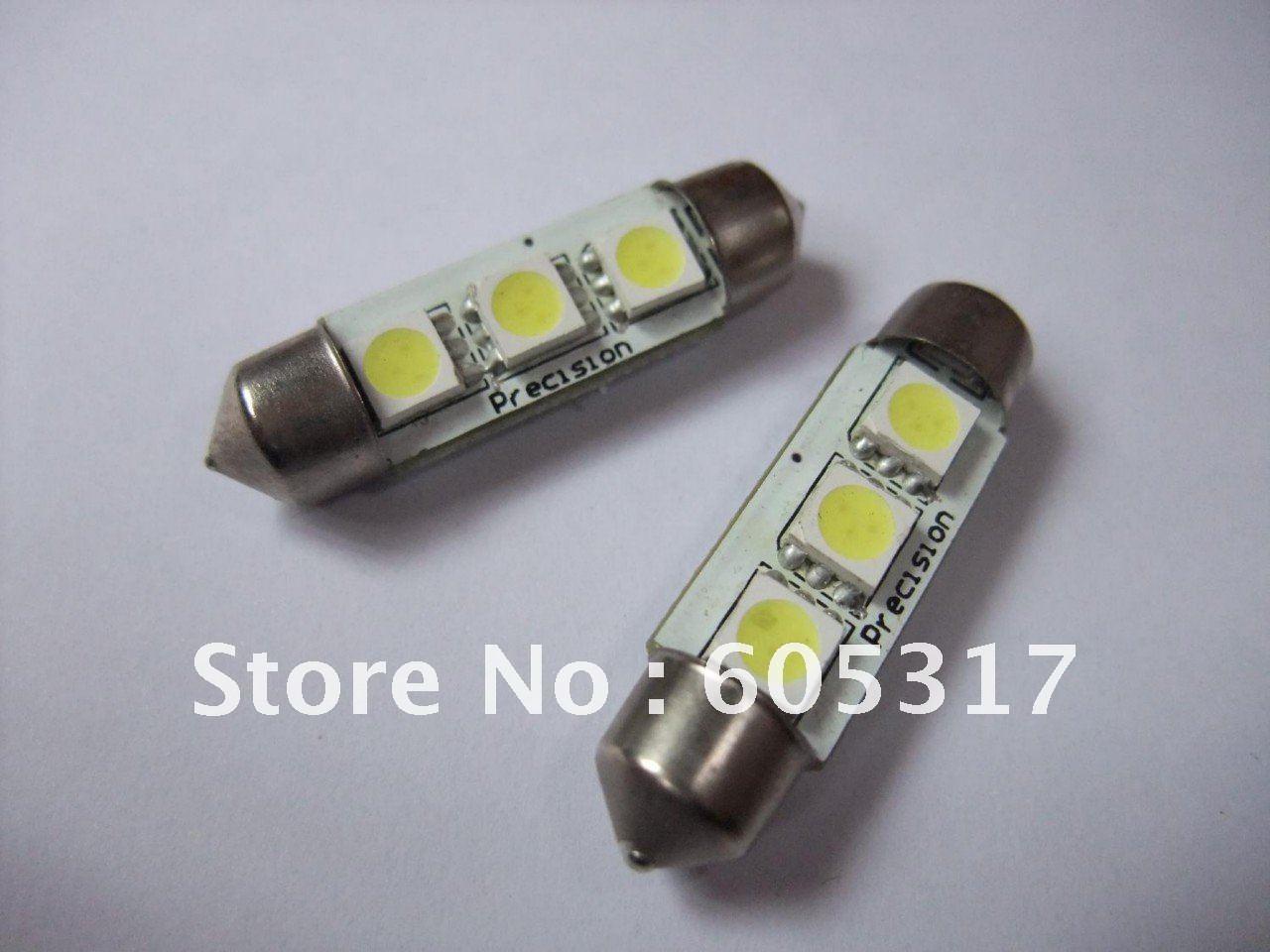 Wholesale 10pcs/lot DC 12V 39mm 3SMD 5050 LED Car Auto Light Bulbs LED License Plate Light LED Festoon Light Bulbs(China (Mainland))