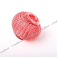 Free Shipping 16mm Wholesale Red Large Hole Beads Tennis Shape Charms Hollow Out Beads Fit Europaen Bracelets  151726