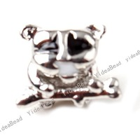 $5 off per $100 order, 30pcs New Lovely Dog Charms Beads Big HOLE Bead Rhodium Tone Fit European Bracelets Free Shipping 152191