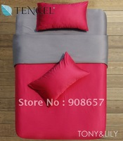 Tencel Fabric rose red dark gray solid pattern alternative comforter covers Queen/Full bed in a bag sets 4pcs with fitted sheets