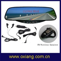 Hot sale! bluetooth stereo Handsfree   car rearview Mirror with hangfree+ wireless earpiece+free shipping cost!