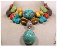 Charming 2 row charming Tibet Turquoise Coral Necklace Fashion Free shipping
