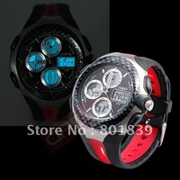 OHSEN Big Face Red Analog Digital Dual Core Alarm Date Number Game Mens Sports Wrist Watch Water Proof Nice Xmas Gift New A179