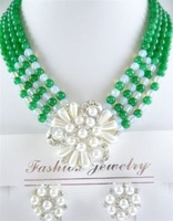2011 New Hot Fashion Woman's Jewelery Stunning green jade jewelry pendant/necklace Earrings free shipping