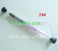 Free Shipping 24# Acrylic Nail Art Brushes Pen Nail Brushes Cuticle Pusher 100% pure kolinsky