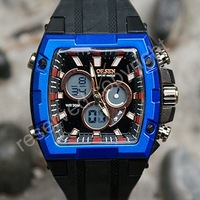 OHSEN Digital Analog Dual Core Alarm Men's Sport Wrist Watch Blue Rim Nice Xmas Gift With Tracking Number Wholesale Price A094