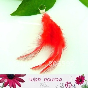 WHFE008,free shipping wholesale custom DIY 2011 latest style red natural feather earring cuffs