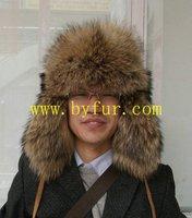 BY-R-110  Raccoon Trapper Hat, Aviator hat