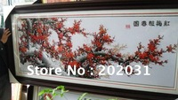 China folk art handmade finished cross stitch Fabric embroidered wall painting Huge Size Red Plum blossom free shipping