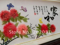 China folk art handmade finished cross stitch Fabric embroidered  mixed Media 3D wall painting Harmonious Family Flowers