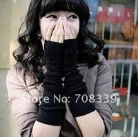 Free shipping NEW WOMEN'S BLACK KNIT WARMER FINGERLESS GLOVES women's/ladies/girls winter fashion Cuff fingerless PA22