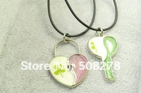 lock and key love necklace four leaf clover necklace 2012 valentine jewelry 1 pair free shipping+gift necklace