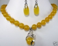 2011 New Hot Fashion Woman's Jewelery Charming yellow jade dragon Jewellery necklace earring set free shipping