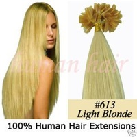 "Free Shipping !! 100 strands 18"" Keratin glue in nail tip hair extension 0.7g #613 light blonde for Beautiful girl"