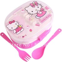 lunch box, plastic lunch box, hello kitty lunch box  with fork and spoon, free shipping, wholesale, 4pcs 1 lot