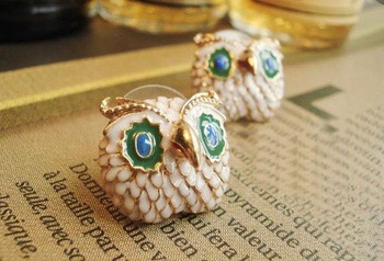 Christmas Gifts/Free Shipping/Hot Sale/Promotion/Fashion Vivid Owl/Newest Jewelry Owl Earrings/Mix Colors Painting Stub Earrings