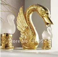 Free shipping PVD GOLD  finish 3 Pcs  ROMAN swan sink faucet   swan mixer tap little swan handles faucet