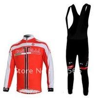 2011 Castelli High Quality Best Selling Winter Fleece/Thermal Cycling Jerseys+ Bib Pant Set/Cycle Wear/Biking Jersey/Bike