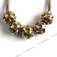 30pcs Yellow Rhinestone Charms Beads Round Big Hole Metal Beads European Bead Fit Handcrft Jewerly In Stock Free Shipping 151405