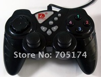 Dilong USB singles game Handle with double shake console/computer console PU303 black