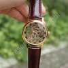 Golden Tone Hollow Skeleton Mens Lady Women Wind Up Mechanical Analog Wrist Watch Brown Leather Band Xmas Gift Wholesale Price