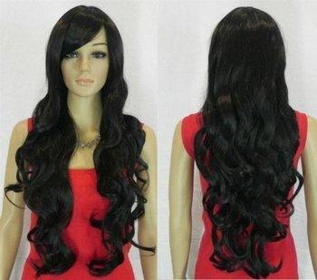 stylish long black curly healthy women hair wig+gift