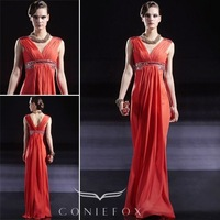 mermaid evening gownsFree Shipping dress prom New Arrival V-neck Pleated Chiffon Celebration formal Dress Red 56663bridal  2012