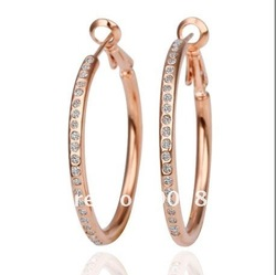 Hot new plated 18K rose gold inlay Czech diamond hoop earrings Fashion Top jewelry free shipping 10pair/lot(China (Mainland))