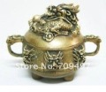 Chinese Brass Statue: Nine Dragon Censer 100% free shipping